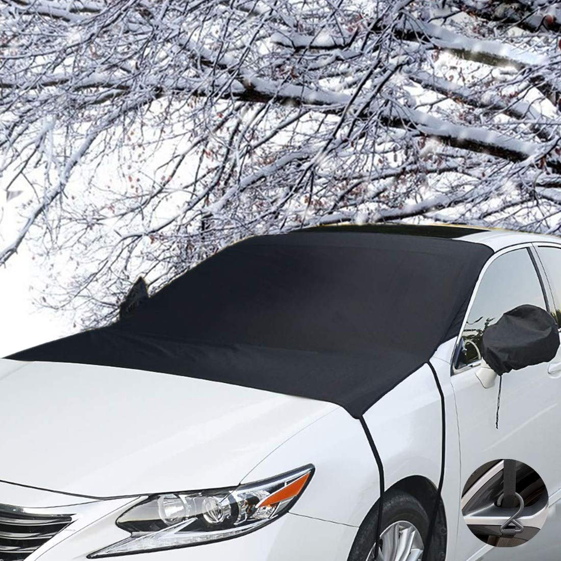 TOPWINRR Protector Parabrisas Coche Frontal Nieve Hielo Helada Magné tico Solar UV Parasol Proteccion con Cubierta de Espejo Lateral 205 * 150cm para Coches SUV Camió