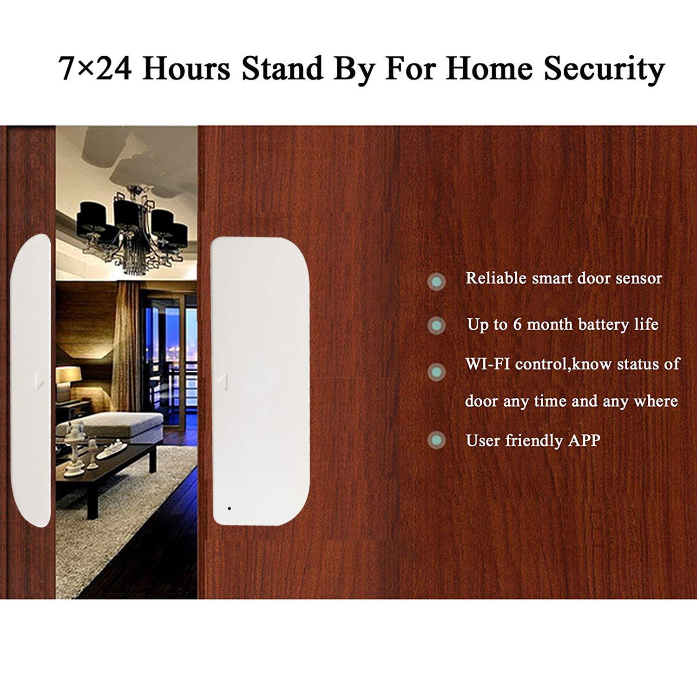 THINKELS-TECH Puerta WiFi y sensores de ventana Imanes Timbre de puerta seguridad Alarma de campana abierta Aplicación de teléfono inteligente Compatible ...