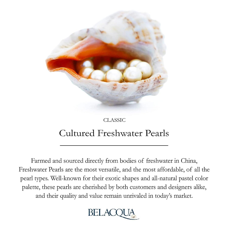 Sterling Silver White Genuine Cultured Freshwater Pearl Stud Earrings