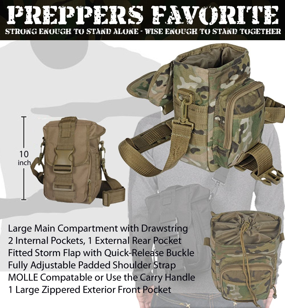 PREPPER'S FAVORITE: Emergency Get Home Bag with First Aid Kit, Water Filter, Food, Fire, Tools and Shelter. Ideal Compact Bug Out Bag, Earthquake Kit, EDC or 72 Hr Kit. Tactical Shoulder Bag Model by Prepper's Favorite (Image #4)