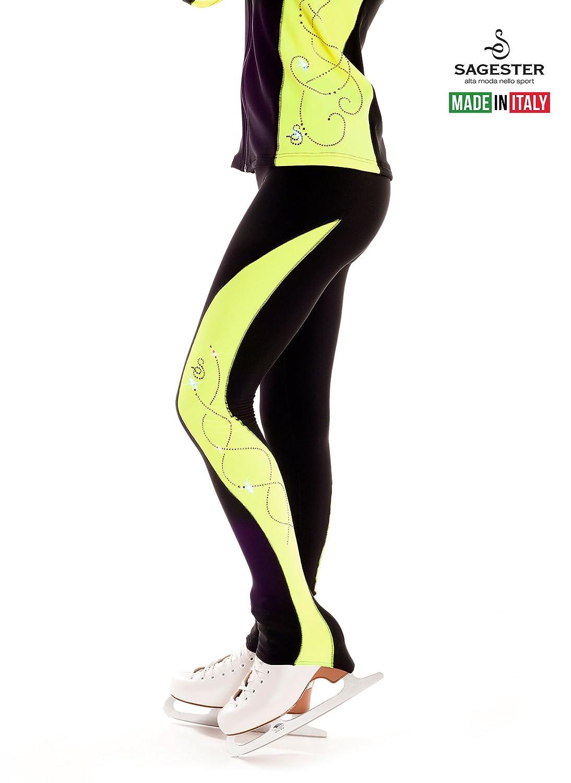 Sagesterスタイル# 431 /手作りのイタリア/ブラック継手パンツfor Figure Skating、Ice Skating /ラインストーンアプリケーションon Colo赤 Sides /サイド色: Fluoイエロー、Fluo Fuchsia (パンツのみ) ネオンイエロー (Fluo 黄) XX-Small