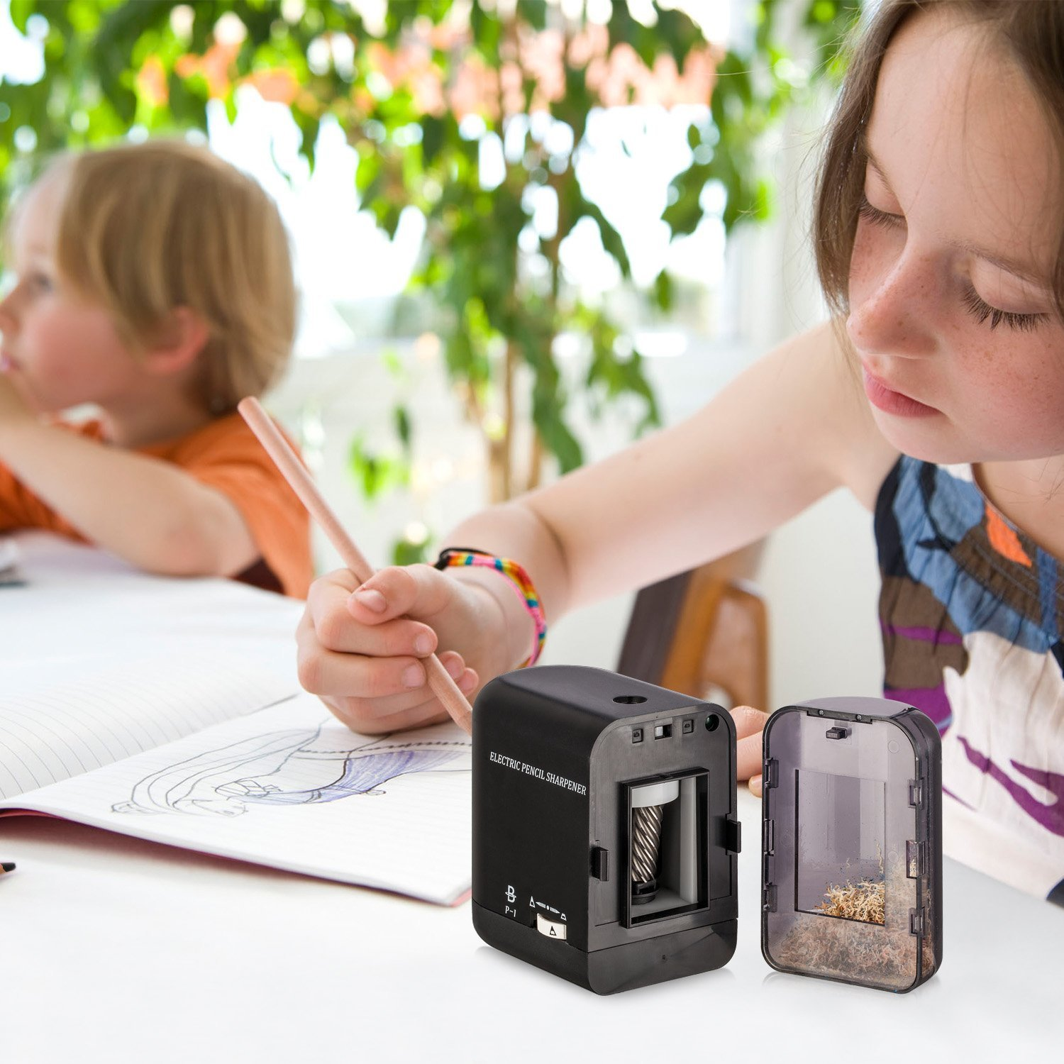 BOOCOSA Pencil Sharpener, BEST Heavy Duty Steel Blade, Electric Pencils Sharpener with Auto Stop for School Classroom Office Home – Precise Perfect Point Every time for Artists Kids Adults by BOOCOSA (Image #8)