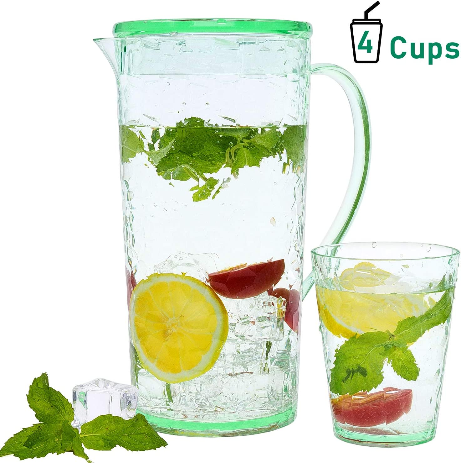 Green Water Jug with Lid Milk and Coffee Ulinek Plastic Pitcher with 4 Cups 1.6L Light-duty Shatterproof Water Pitcher Beverage Jugs for Warm Cold Juice Tea