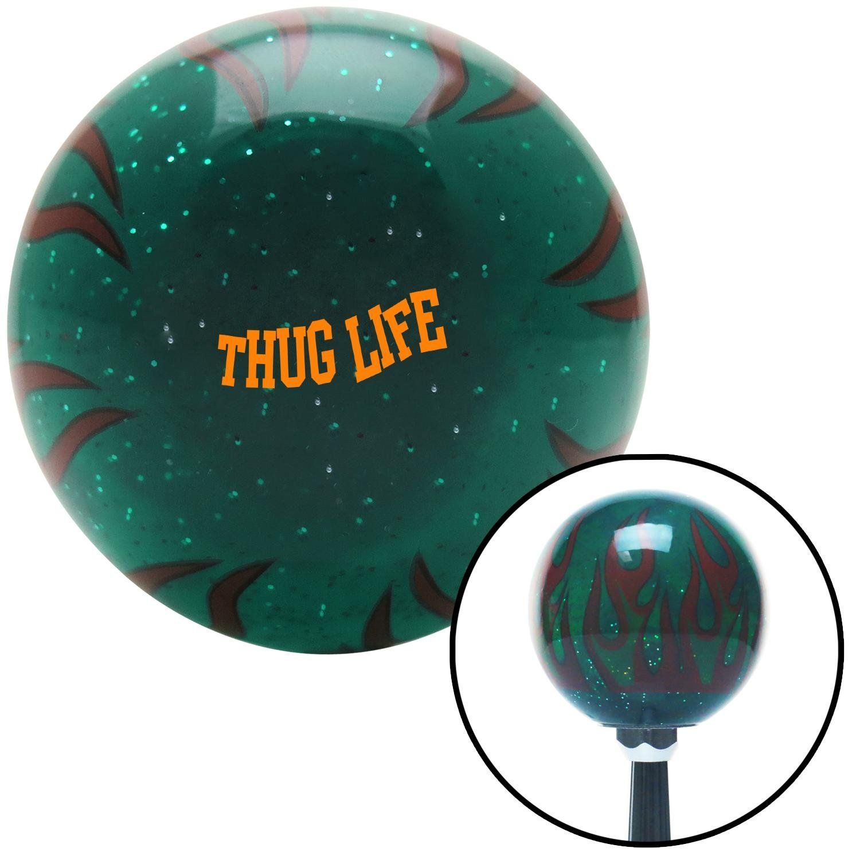 American Shifter 301065 Shift Knob Orange Thug Life Green Flame Metal Flake