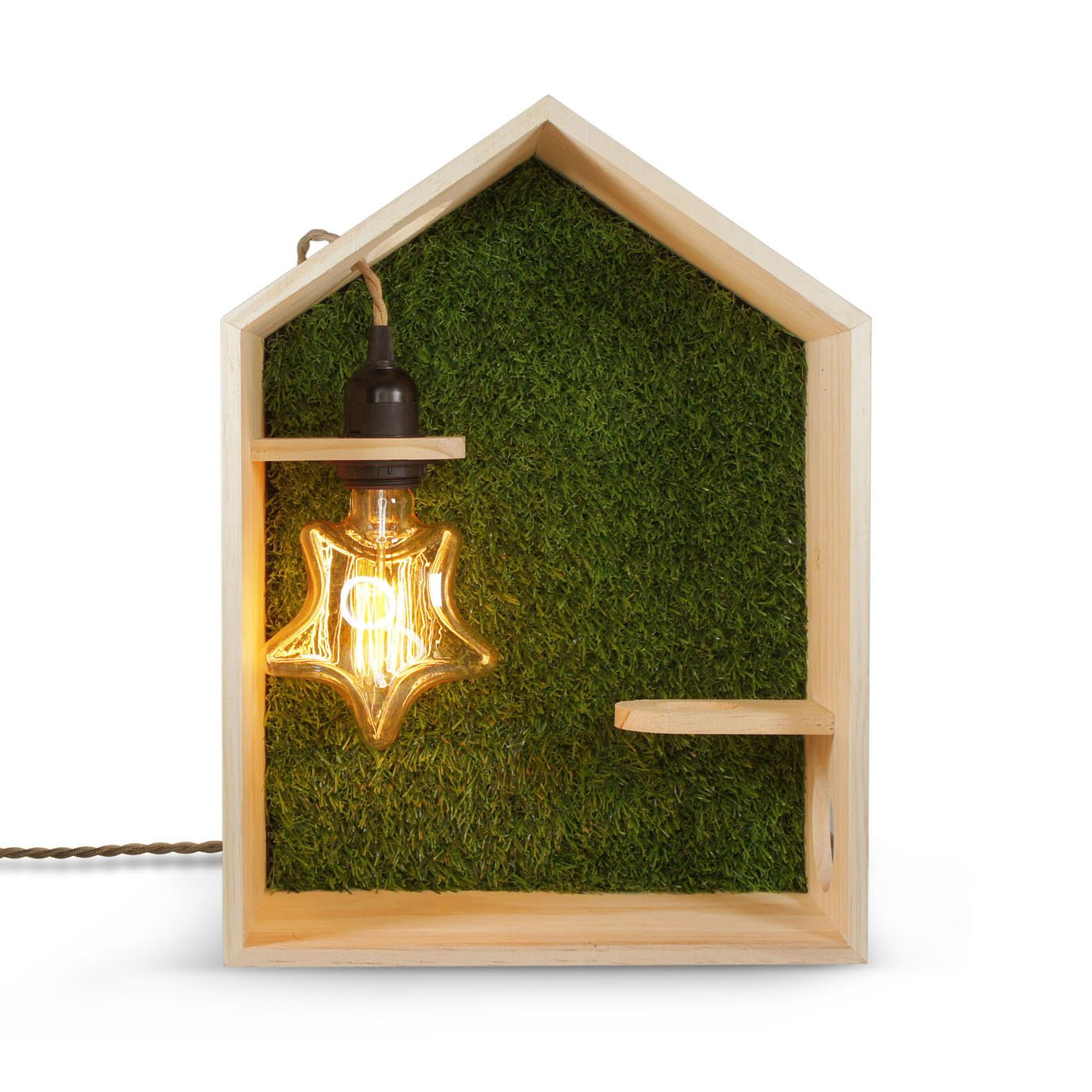 Green House - Wall Mount or Free Standing House Shape Wooden Storage Lamp and Shelf | Handmade Natural Pine Wood (FSC) with The Grass Wall, Include The Star Light Bulb | 1-Year Warranty