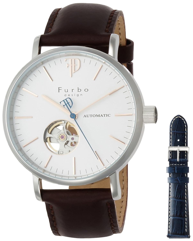 [フルボデザイン]Furbo design 腕時計 日本製自動巻きムーヴメント搭載 ステンレススチール スムースレザー 自動巻 シルバー文字盤 F2002BRNV メンズ B072J2M8DR