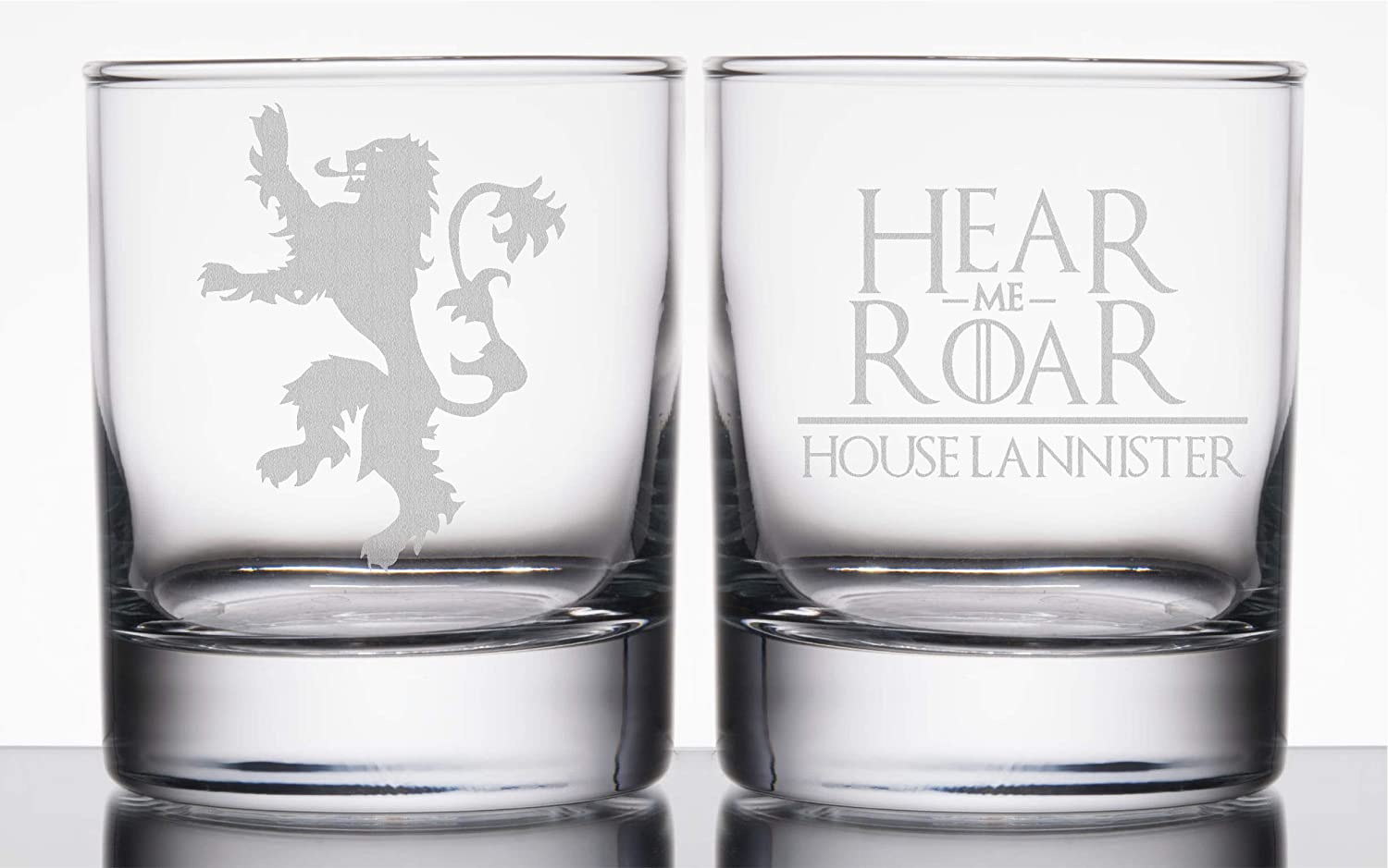 Lannister//Hear me Roar Etched Rocks Glass Game of Thrones
