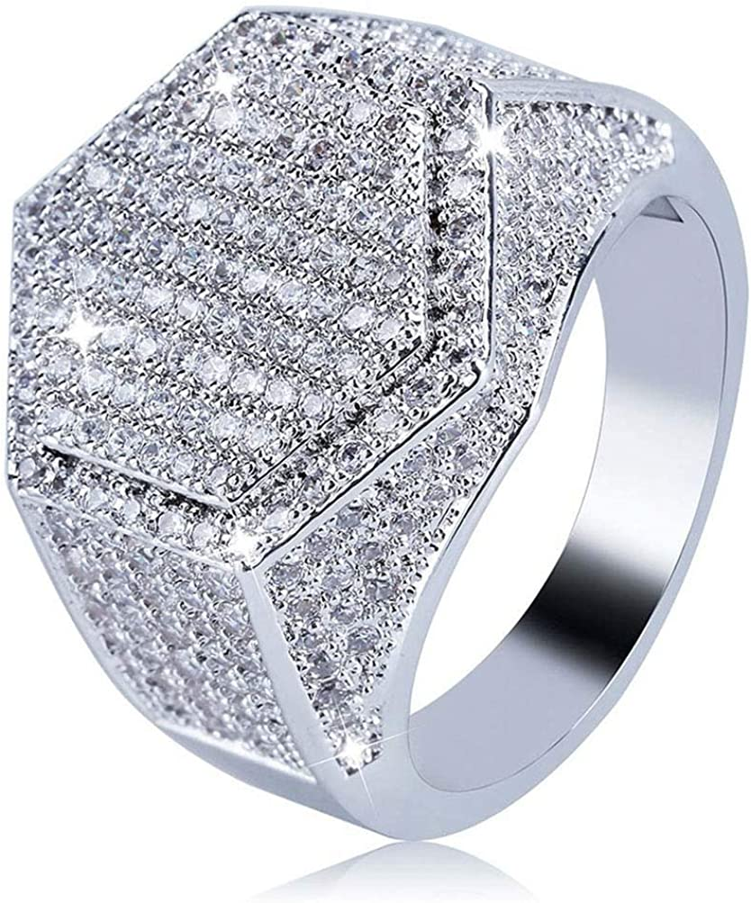 Anqeeso Mens Gold//Silver Plated Cluster Iced Out Simulated Diamond Bling Hip Hop Ring