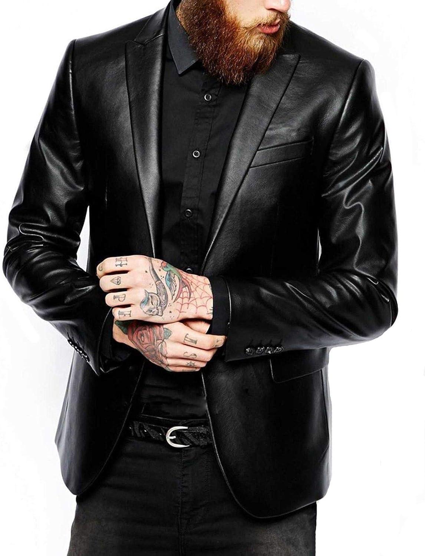 Mens Plain Slim Fit Casual Tuxedo Style Black Real Leather Blazer Coat
