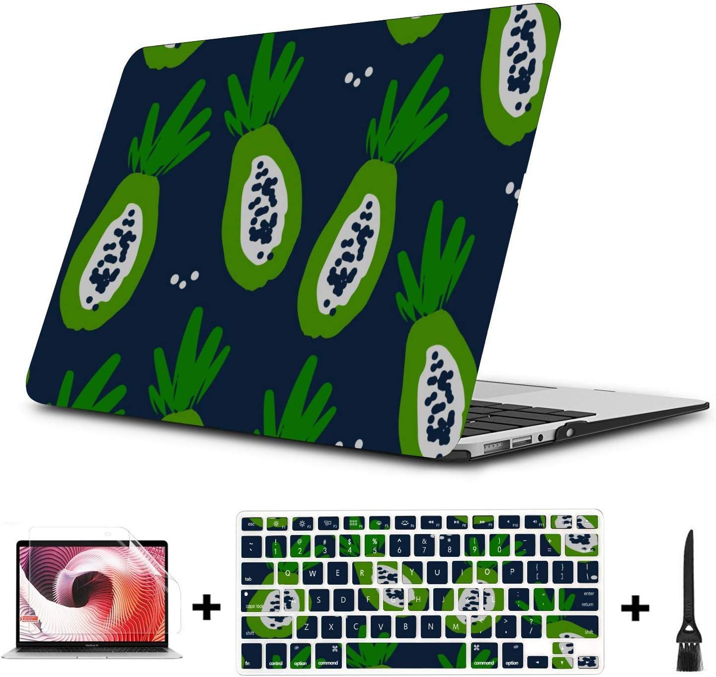 MacBook Accessories Case Summer Fashion Cool Fruit Papaya Plastic Hard Shell Compatible Mac Air 11 Pro 13 15 13 MacBook Air Case Protection for MacBook 2016-2019 Version