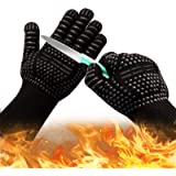 Oven Gloves 932°F Heat Resistant Gloves, Cut-Resistant Grill Gloves, Non-Slip Silicone BBQ Gloves, Kitchen Safe Cooking Glove