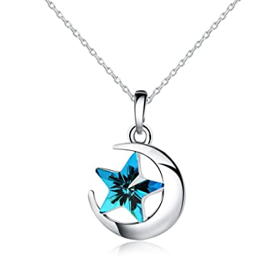 Candira 925 Sterling Silver Moon Star Pendant Necklace 18