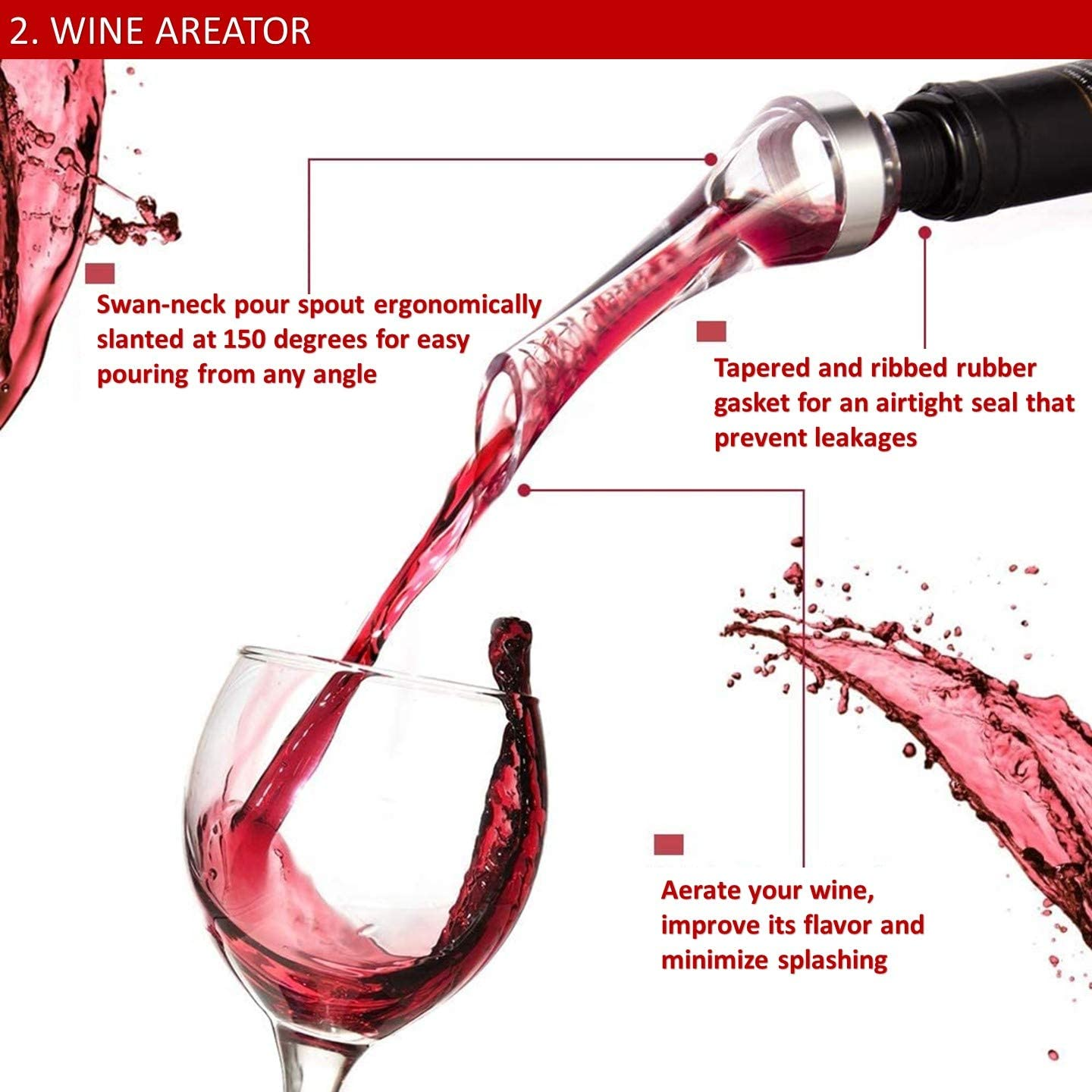 VINAKAS Wine Gift Set Wine Aerator 6 Wine Stoppers and Beautiful Wooden Box Perfect Gifts for Wine Lovers Includes Stainless Steel Electric Wine Opener