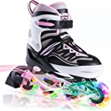 2PM SPORTS Cytia Pink Girls Adjustable Illuminating Inline Skates with Light up Wheels, Fun Flashing Beginner Roller Skates f