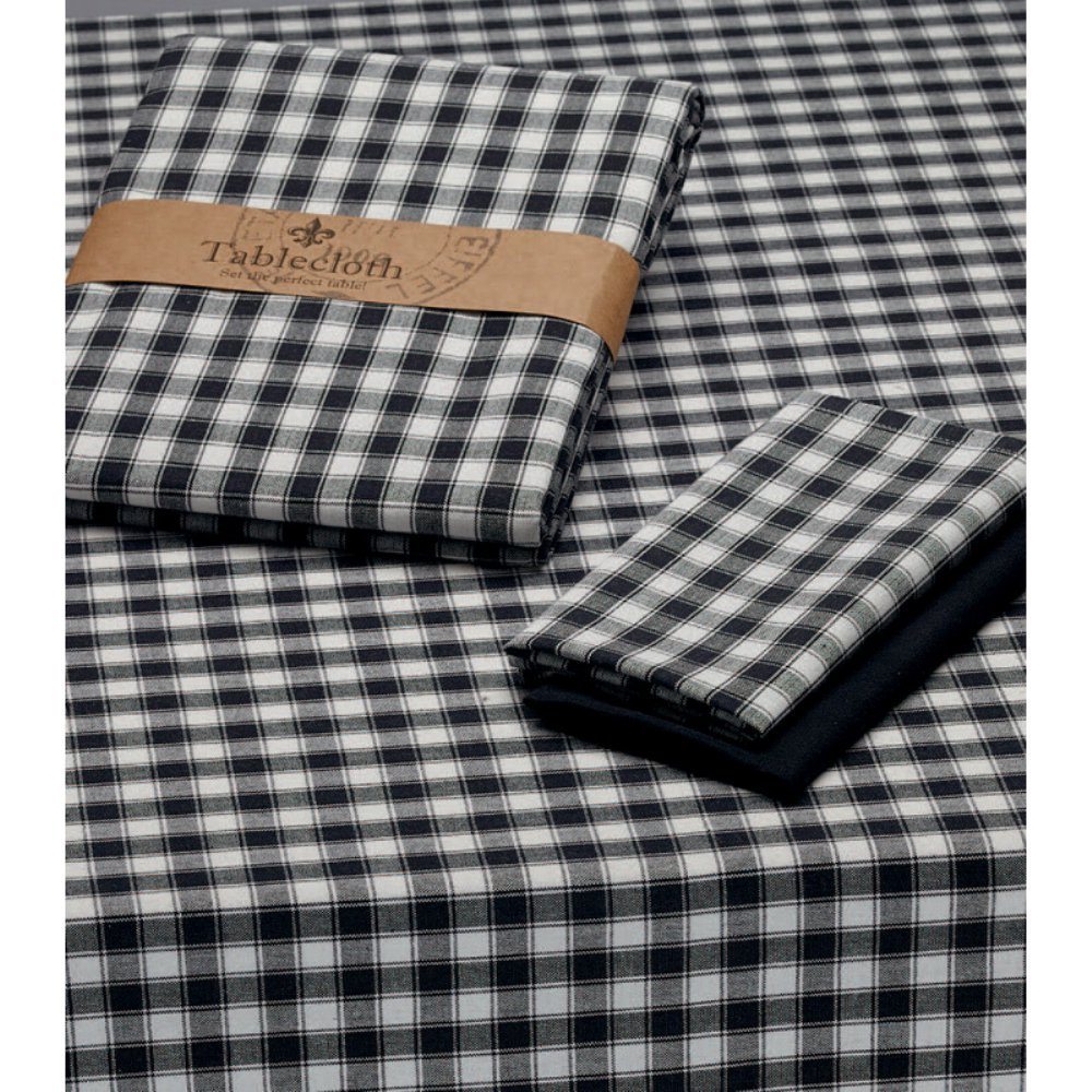 Design Imports 52 Square French Check Tablecloth in Black and White