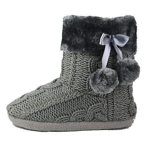 low priced b9da2 b540a Airee Fairee Hausschuhe Damen Pantoffeln Stiefel Schuhe mit Weichen Pom  Poms Slippers