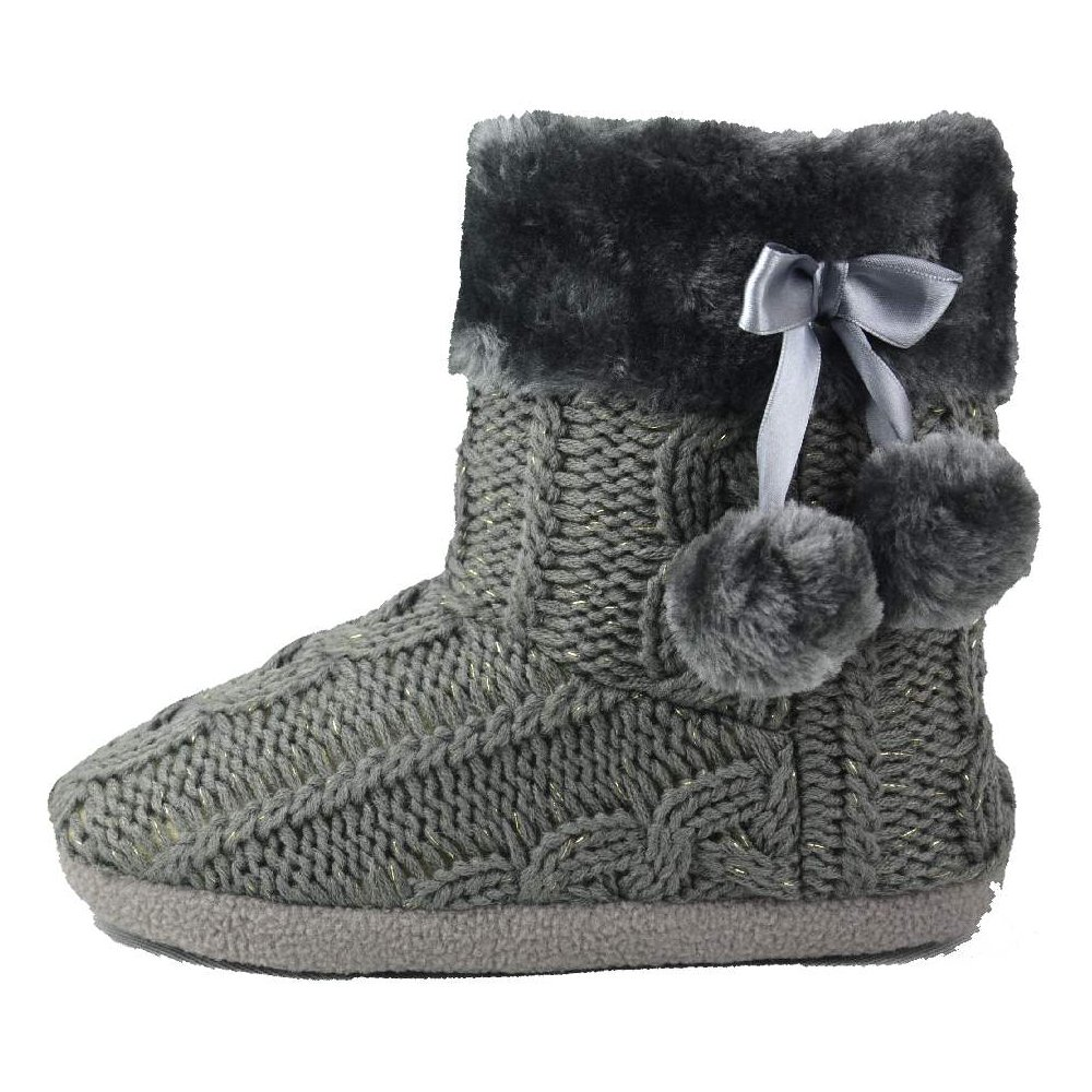 Airee Fairee Slippers Womens Indoor Slipper Boots for Ladies Girls with Knitted Upper and Pom Poms (Large-US 9-10, Grey)