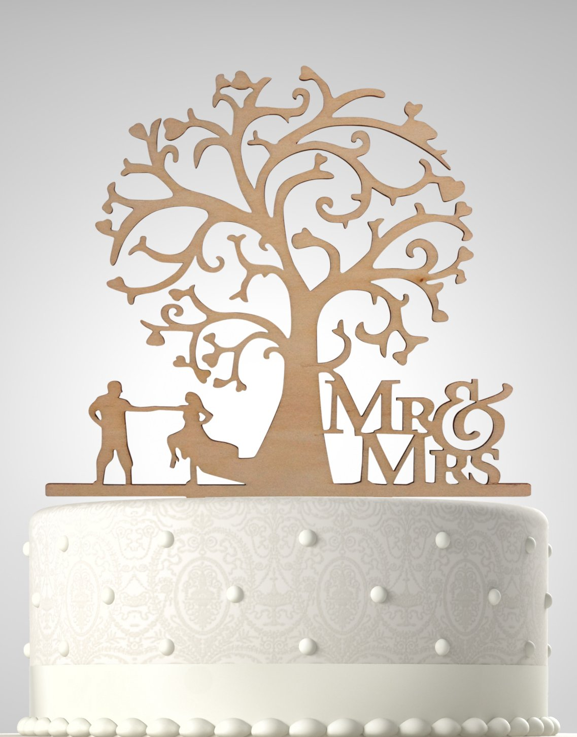 Rubies & Ribbons Wedding Cake Topper Mr & Mrs - Couple Dancing Under Tree Party Decoration with Gift Box (Wood)