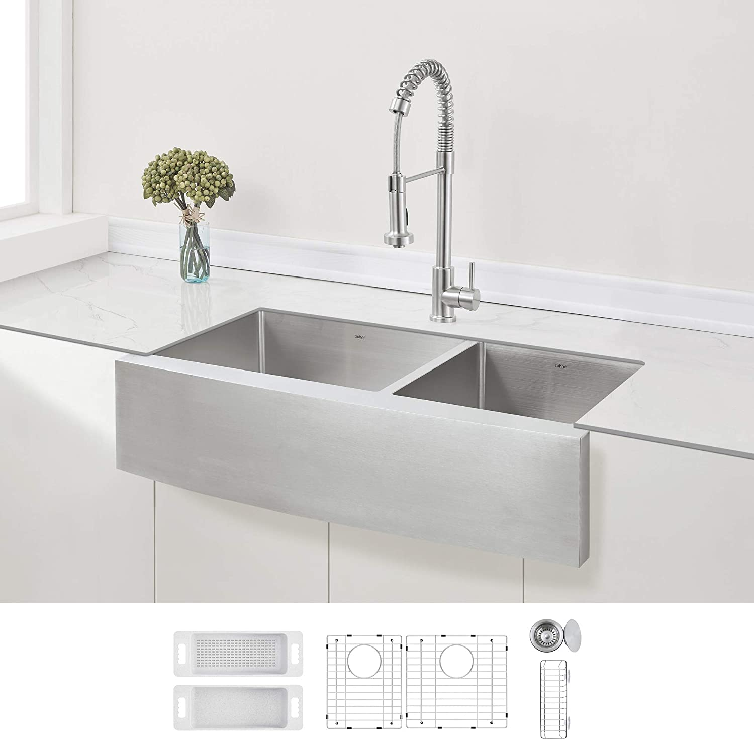 Zuhne Stainless Steel Double Basin Farmhouse Sink 60 40 36 Inch Curved Apron Front