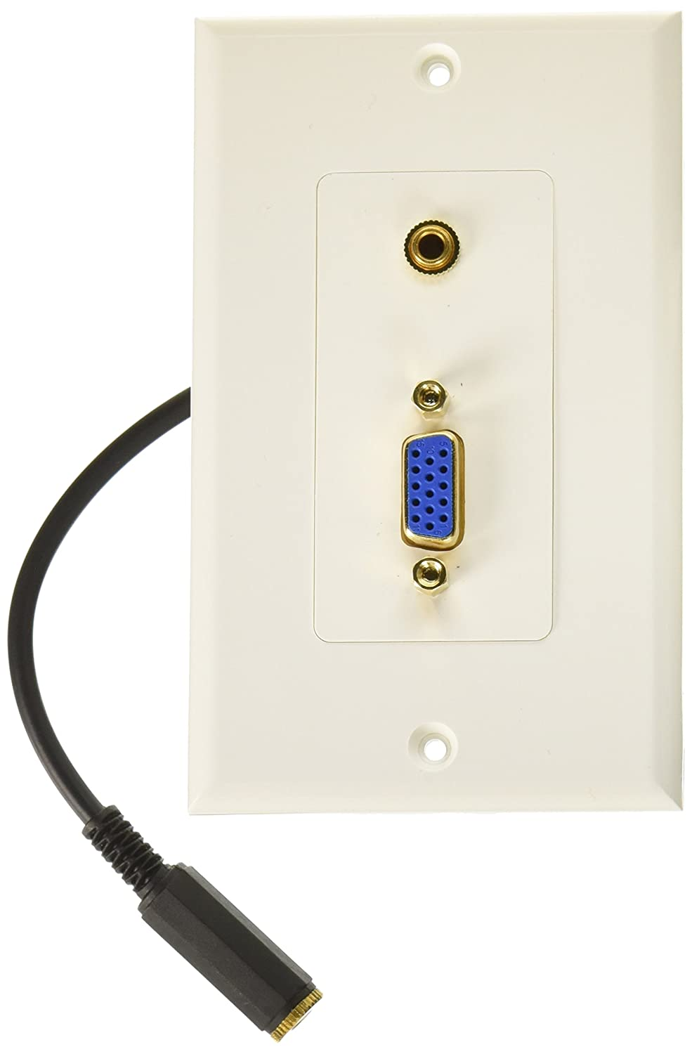 Monoprice 104569 VGA Stereo Audio Wall Plate, 3.5mm, Gold Plated