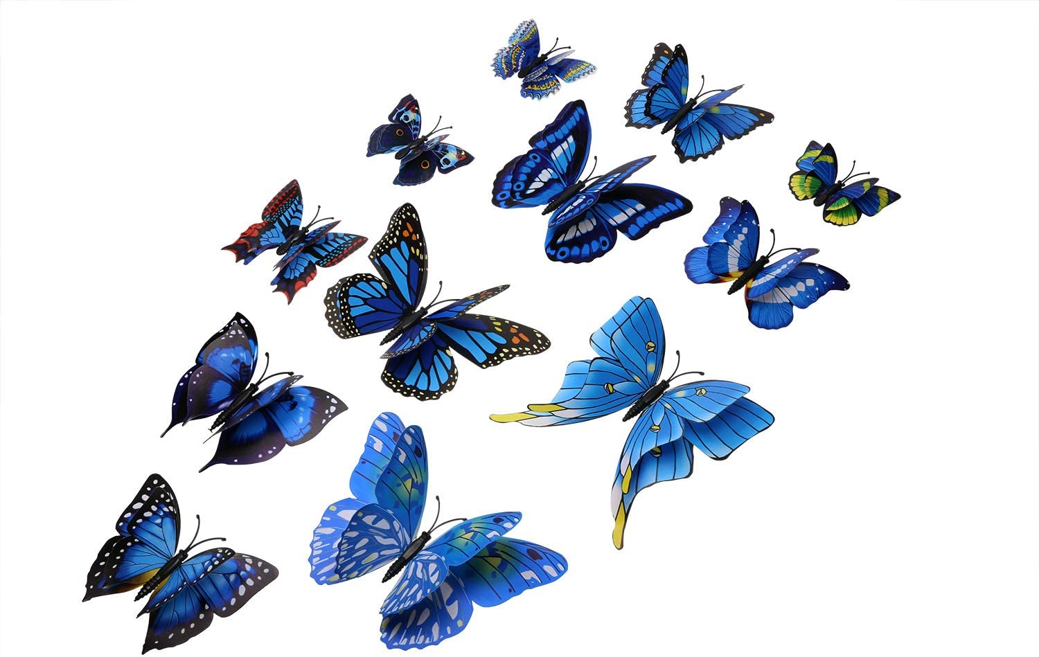 Tupalizy 12PCS Vibrant Double Wings 3D Butterfly Wall Stickers Decals DIY Art Crafts Decorations for Windows Refrigerator Kids Girls Baby Bedroom Classroom Bathroom Home Office Birthday Party (Blue)