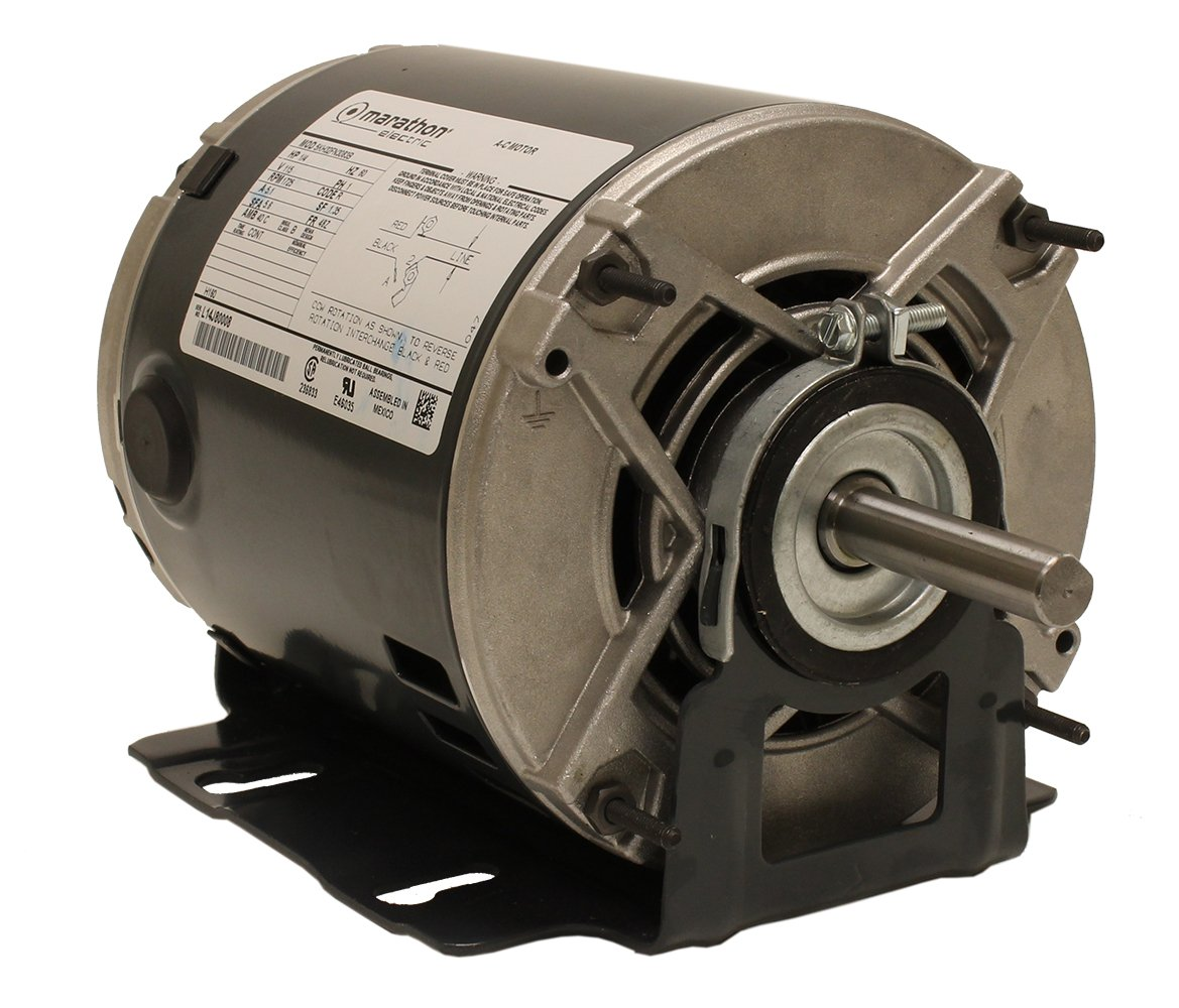 Marathon H160 48Z Frame Belt Drive Blower Motor, Single Split Phase, Resilient Ring Mount, Open Drip Proof, Ball Bearing, 5.1 amp, 1/4 hp, 1725 RPM, 115V