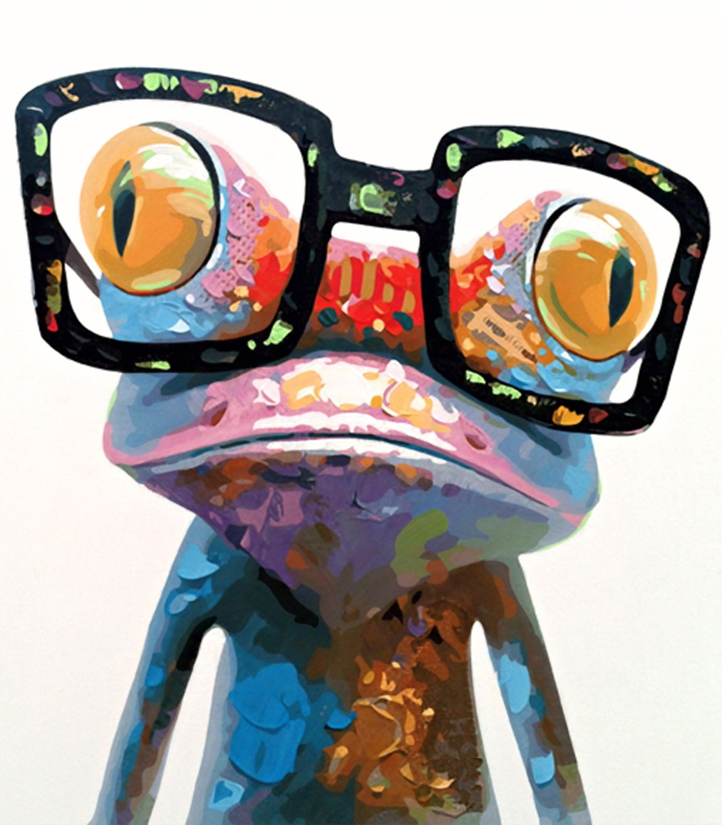 MailingArt Wooden Framed Paint by Number Animals No Mixing/No Blending Canvas DIY Painting - Abstract (Frog with Glasses) by MailingArt
