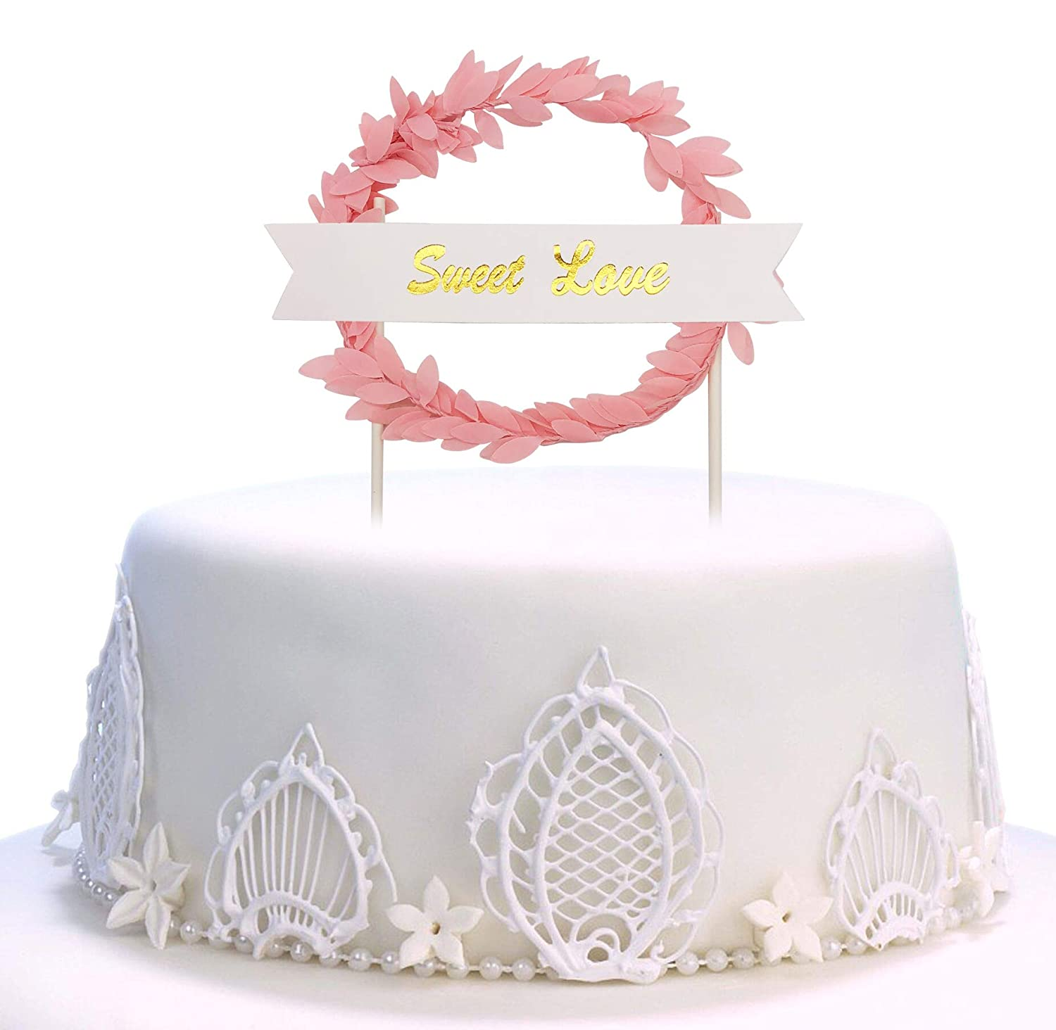 Leaf Ring Cake Topper Happy Birthday Twinkle DIY Glitter First Cupcake Smash Candle Alternative Party Handmade Pink