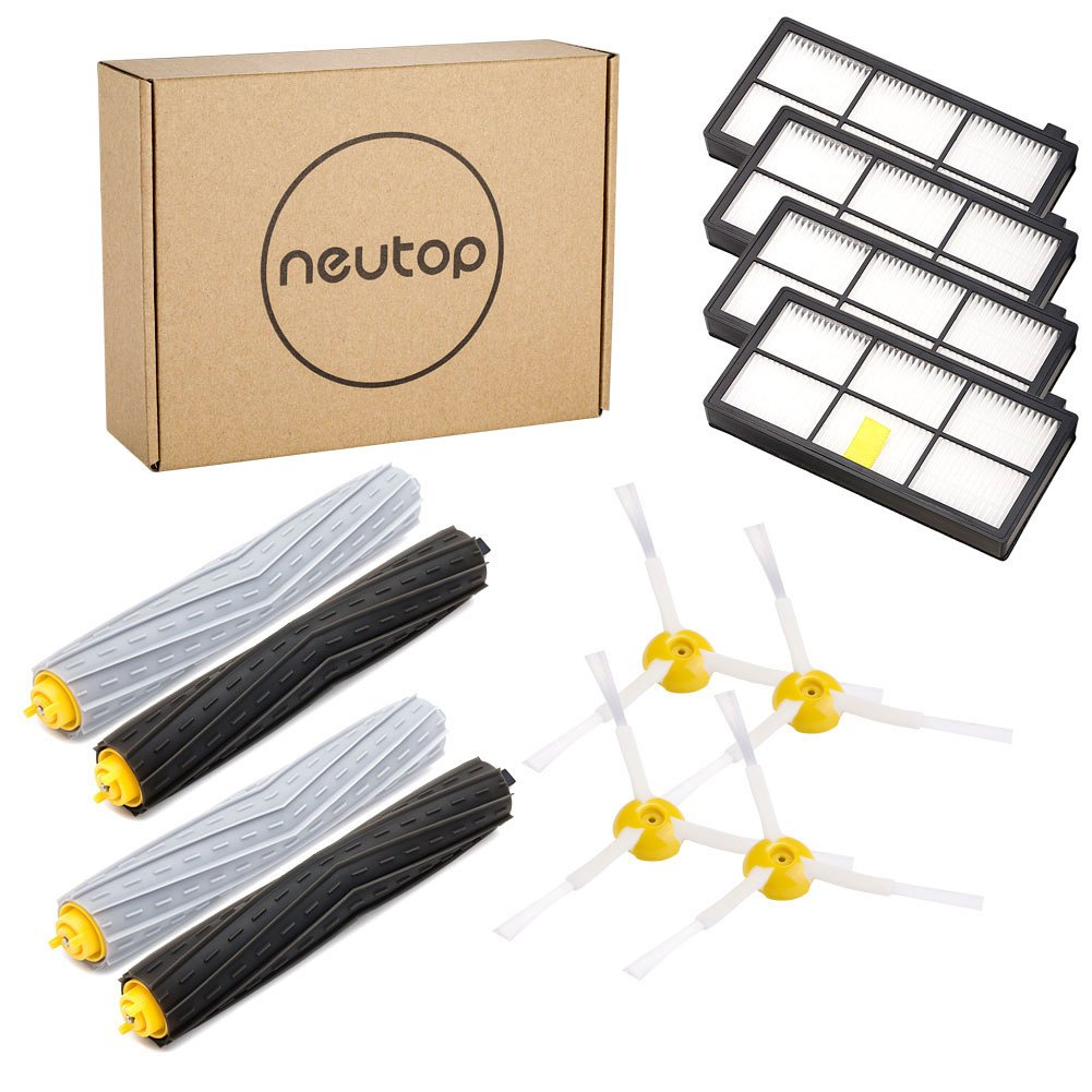 Neutop 880 Accessories for iRobot Roomba 880 870 860 800 900 980 960 805 Series Replenishment Parts Spare Brushes Kit, including 4 Hepa Filters, 4 Side Brushes, 2 sets Tangle-Free Debris Extractors