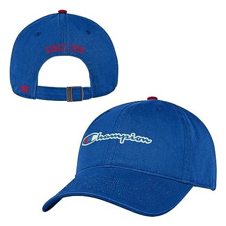 eccff4a6323 Champion Relaxed Fit Classic Cotton Crew Twill hat Cap-Adjustable-Blue  Script