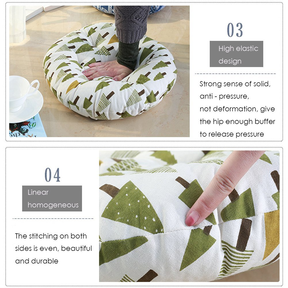 MEMORECOOL LIGHT UP YOUR HOME Modern Simple Round Floor Cushion, Futon Round Seat Cushion Window Pad Chair Cushion Sofa Pillow 23 Inch, Ginger Rhombus Set of 2 by MEMORECOOL LIGHT UP YOUR HOME (Image #4)