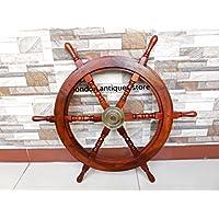70in ottone in legno, timone pirata nautica ~ ~ Home Decor. c-3181
