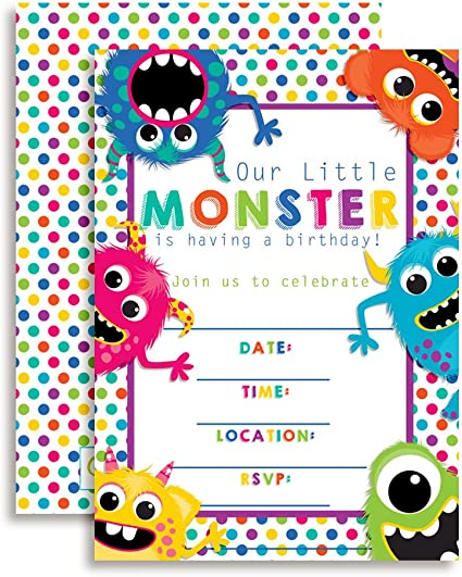 Amazon.com: Colorful, Cute & Friendly Monstruos Fiesta de ...