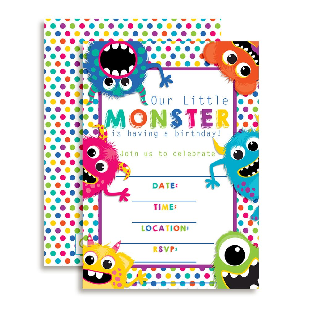 Colorful, Cute & Friendly Monsters Birthday Party Invitations, 20 5''x7'' Fill in Cards with Twenty White Envelopes by AmandaCreation