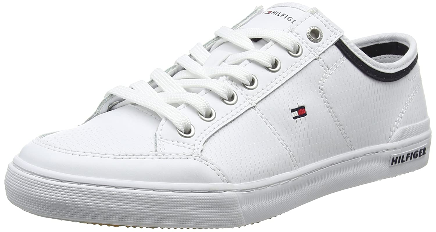 52539bf4257f Tommy Hilfiger Core Corporate Leather Sneaker - White Mens Trainers 43 EU   Amazon.com.au  Fashion