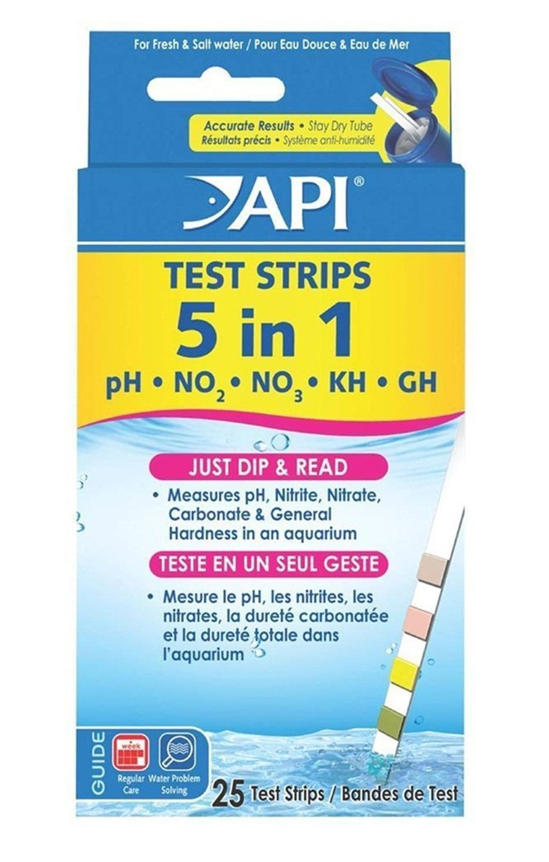 25 Ct. 5 in 1 Aquarium Tester Strips Easy to Read Accurate Results Saltwater Check Foremost Popular Water Kits with Color Chart by GVGs Shop (Image #1)