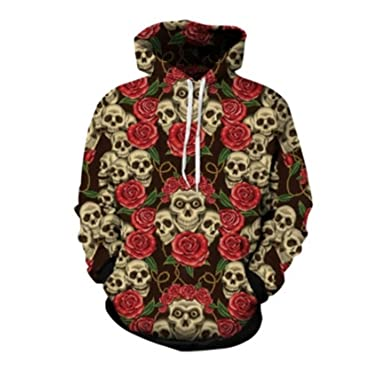 ce8588e925f8 hot hoodies Mens Skulls and Rose Printed Sweatshirts 3d Hooded Hoodies  Men Women Pullover (