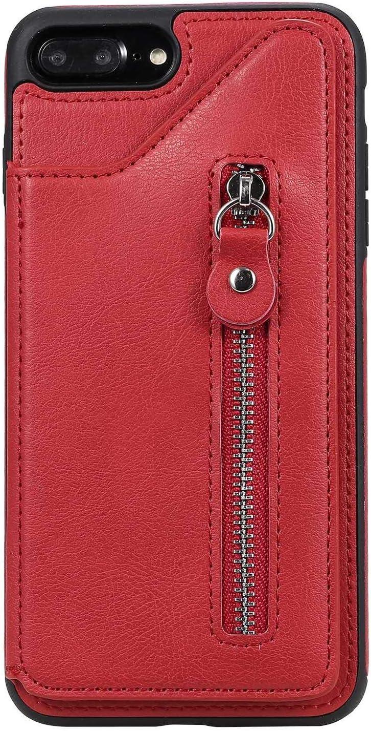 OMATENTI iPhone 7 Plus/iPhone 8 Plus ケース, PUレザー 薄型 簡約風 人気 新品 バックケース iPhone 7 Plus/iPhone 8 Plus 用 Case Cover, 財布とコインポケット付き, 液晶保護 カード収納, 赤