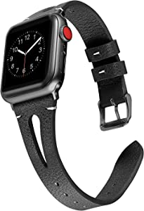 Secbolt Leather Bands Compatible with Apple Watch Band 42mm 44mm iwatch Series 5 4 3 2 1, Slim Strap with Breathable Hole Replacement Wristband Women