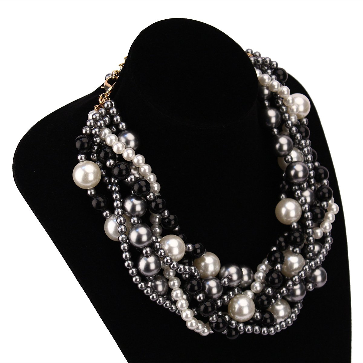 MeliMe Women's Imitation Pearl Twisty Chunky Bib Necklace Pearl Chokers for Wedding Party by MeliMe (Image #2)