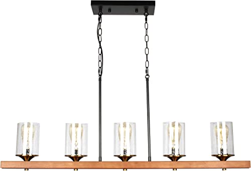 BAODEN 5 Lights Metal Wood Kitchen Island Light Fixture with Clear Seeded Glass Shade Retro Rustic Farmhouse Pendant Lamp Industrial Linear Hanging Chandelier with Brushed Brass E26 Lamp Cup