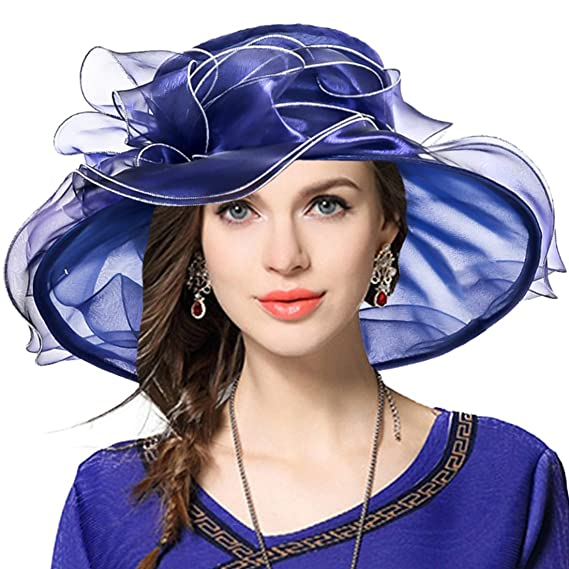 cd2462c57a942 Women Church Derby Hat Wide Brim Wedding Dress Hat Tea Party Hat S019 (Navy)   Amazon.in  Clothing   Accessories