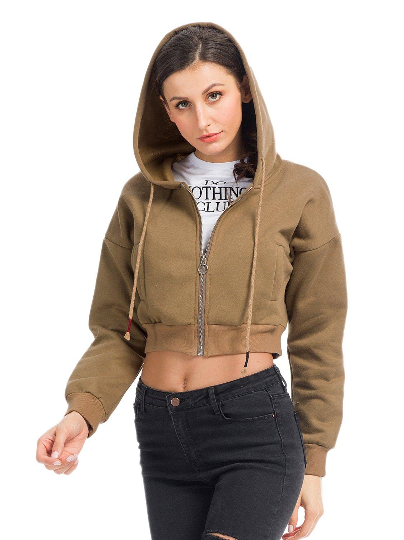 PERSUN Women's Loose Solid Zip Up Sweatshirt Drawstring Fleece Hoodie,Brown,XL by PERSUN (Image #1)