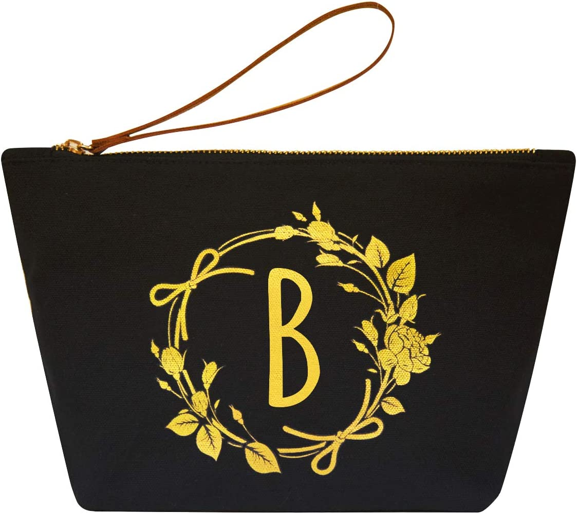 ElegantPark B Initial Monogram Personalized Travel Makeup Cosmetic Bag Wristlet Pouch Gifts Black with Zipper Canvas