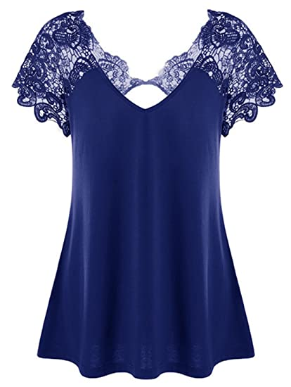 Verano Moda Mujer Solid Plisada Remata Blusa Largas T-Shirt Sexy Cuello V Backless Camisetas