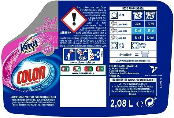Colon Vanish Powergel - Detergente para lavadora con quitamanchas, adecuado para ropa blanca y de color, formato gel - 40 dosis: Amazon.es: Alimentación y bebidas