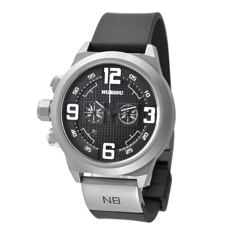 メンズブラック番号SandblastケースホワイトダイヤルブラックシリコンストラップクォーツクロノグラフWrist Watches B00M8G0YPU