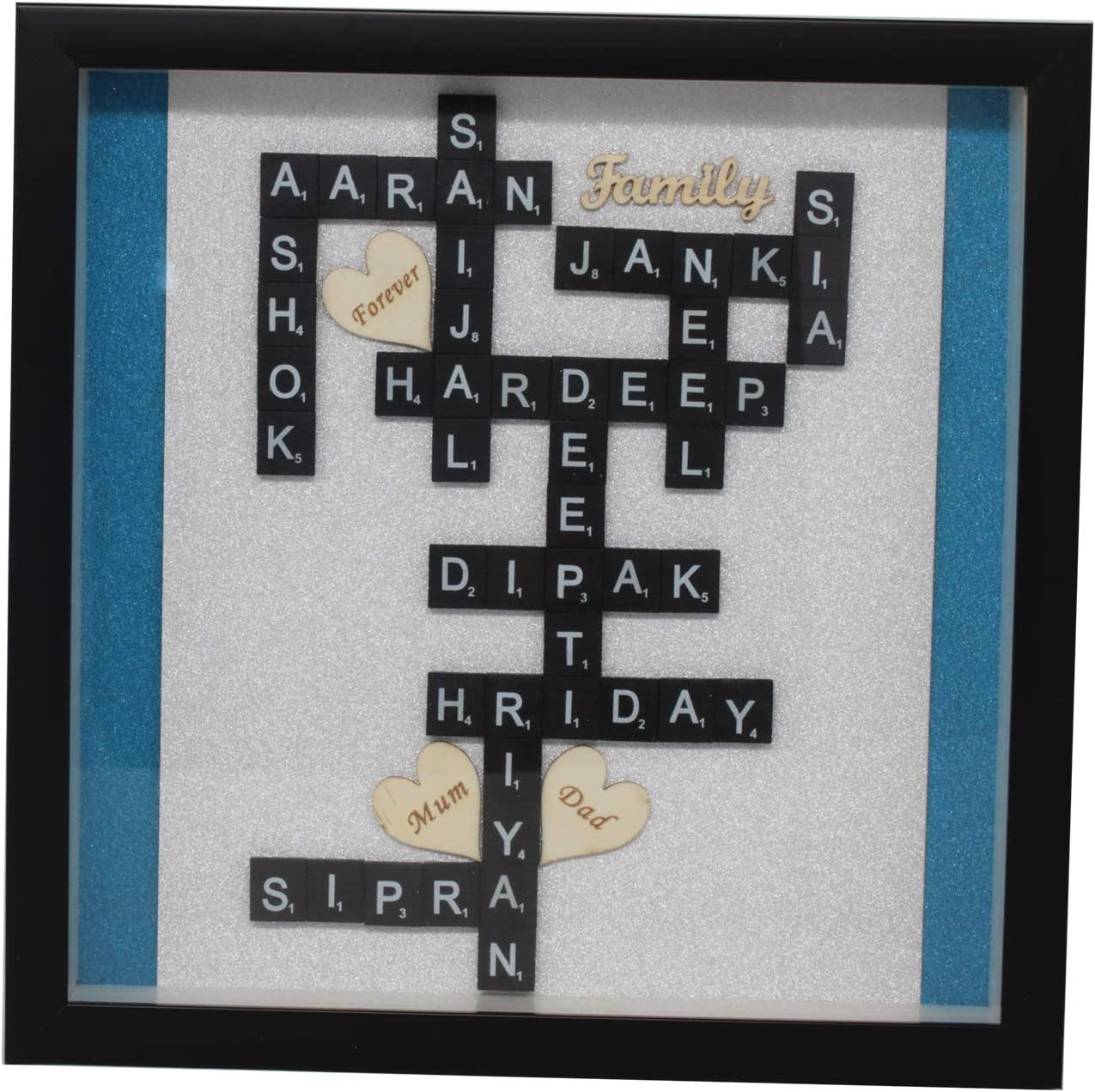Trimming Shop Personalizado Madera Marco con Scrabble Letras, Purpurina Papel, Personalizar Nombre para Regalar, Pared Decorativa - Frm29: Amazon.es: Hogar