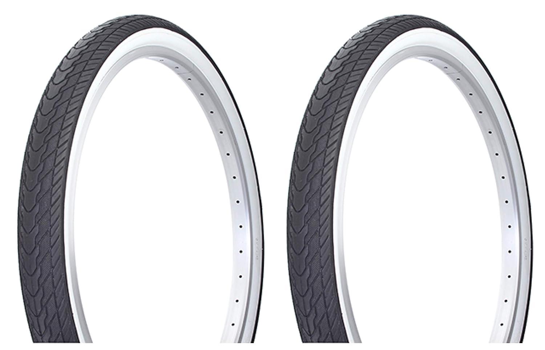 Lowrider タイヤセット 2タイヤ 2タイヤ デュロ 26インチ x 2.125インチ ブラック/ホワイト サイドウォール DB-7053。   B07KP168NS