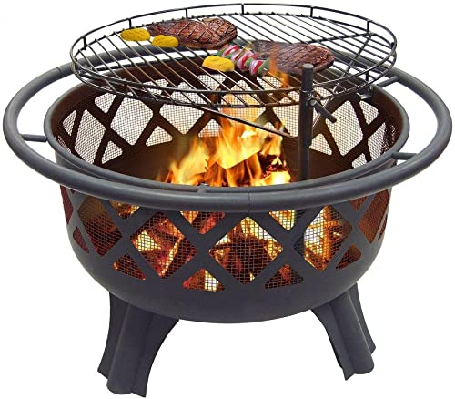 Catalina Creations 29.5 Crossfire Fire Pit Removable Cooking Grill Fire Pit Outdoors Campfire Grill